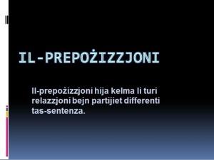 Il-Prepozizzjoni